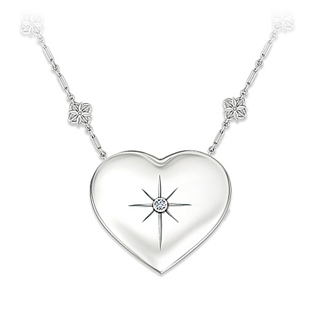 Photo of Grandma's Message Of Faith Diamond Heart-Shaped Pendant Necklace With Cross And Mirror Poem by The Bradford Exchange Online