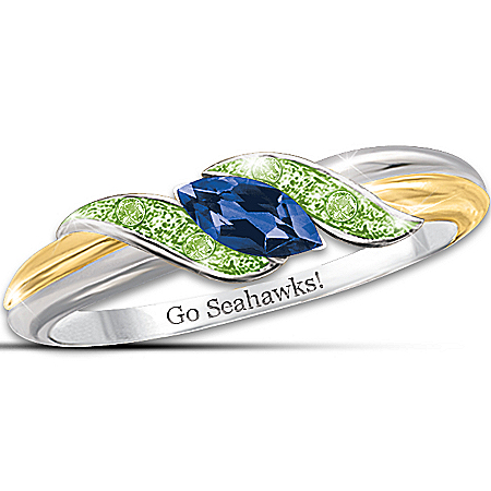 Photo of Ring: Sterling Silver 18K Gold-Plated Pride Of Seattle Sapphire And Peridot Ring by The Bradford Exchange Online