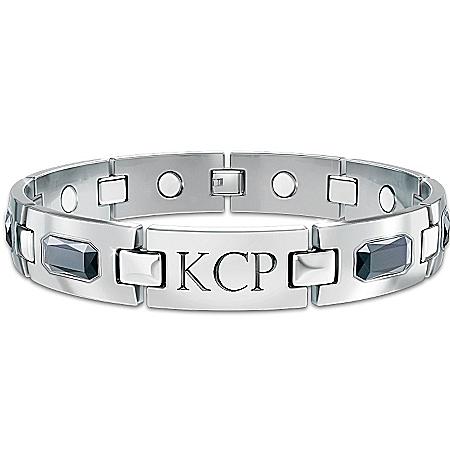 Photo of Optimum Personalized Men's Titanium Magnetic ID Bracelet by The Bradford Exchange Online
