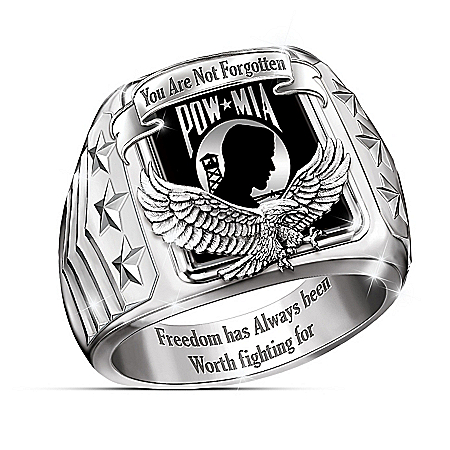 Photo of Never Forgotten POW-MIA Stainless Steel Men's Ring by The Bradford Exchange Online
