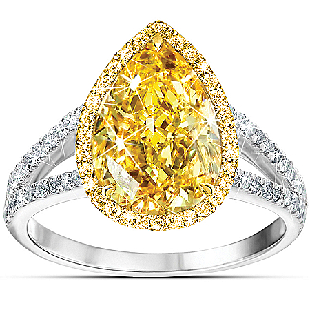 Photo of Make Your Own Sunshine Sun Drop Simulated Canary Diamond Women's Ring by The Bradford Exchange Online