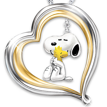 Photo of PEANUTS Happiness Is A Warm Hug Heart-Shaped Pendant Necklace by The Bradford Exchange Online