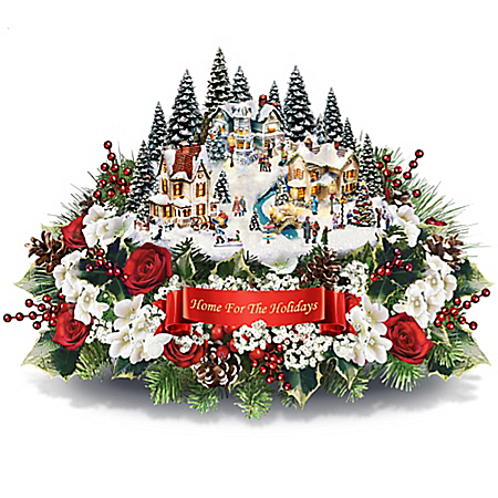 Photo of Thomas Kinkade Always In Bloom Home For The Holidays Table Centerpiece by The Bradford Exchange Online