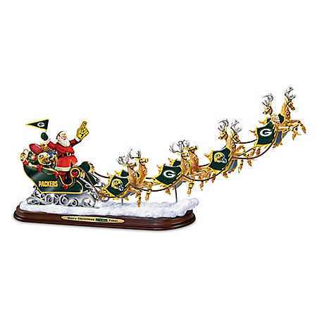 Photo of A Packers Merry Christmas! Green Bay Packers Santa Claus Sleigh Sculpture by The Bradford Exchange Online