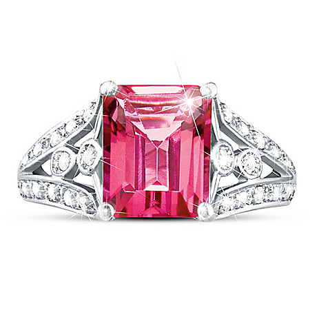 Photo of Ring: Luxury Pink Topaz & Diamond Ring by The Bradford Exchange Online