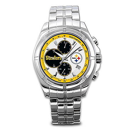 Photo of Watch: Pittsburgh Steelers NFL Chronograph Men's Watch by The Bradford Exchange Online