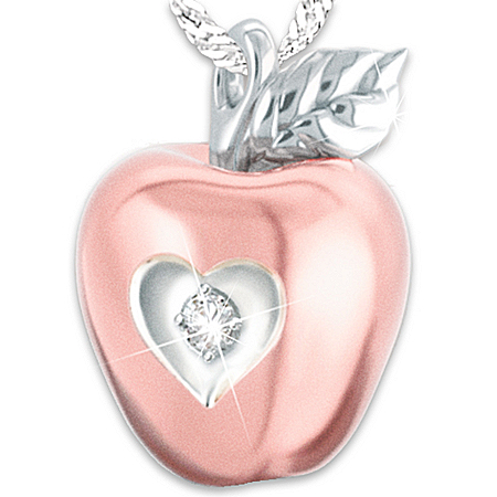 Photo of Necklace: Granddaughter, You Are The Apple Of My Eye Personalized Diamond Pendant Necklace by The Bradford Exchange Online