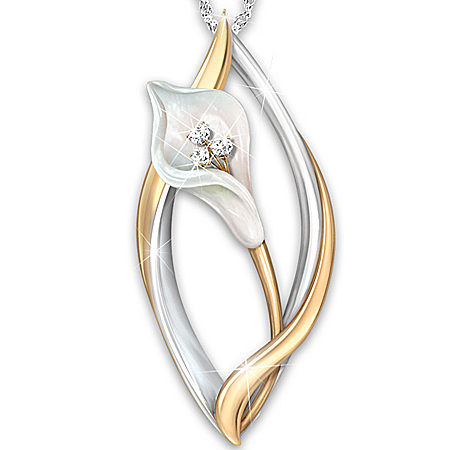 Photo of Necklace: Heaven's Promise Lily Remembrance Pendant Necklace by The Bradford Exchange Online
