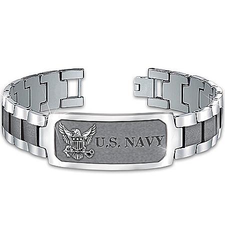 Photo of Bracelet: Navy Pride Personalized Men's Stainless Steel ID Bracelet by The Bradford Exchange Online