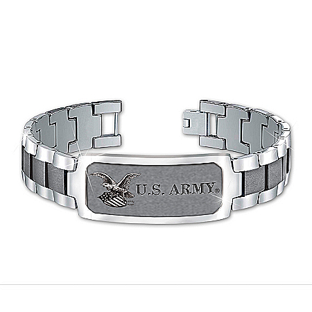 Photo of Bracelet: Army Personalized Stainless Steel Men's Bracelet by The Bradford Exchange Online