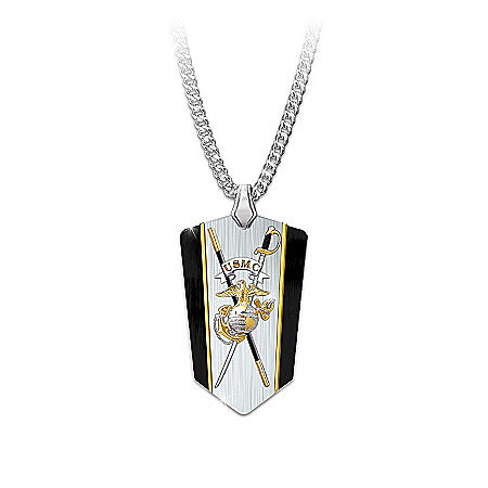 Photo of Necklace: USMC Semper Fi Reversible Dog Tag Shield Pendant Necklace by The Bradford Exchange Online