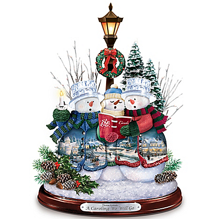 Image of Delightful Thomas Kinkade Caroling Snowmen Figurine with Music and Lights