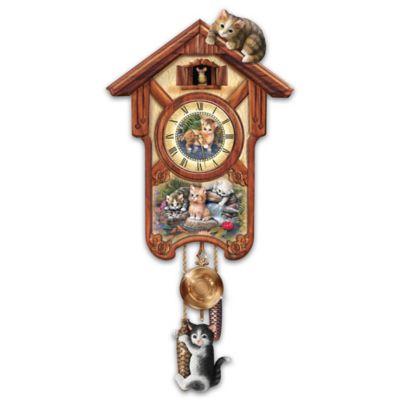 Happy Tails Cuckoo Clock With Kitten Art By Jurgen Scholz