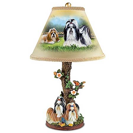 Linda Picken Spirited Shih Tzus Handcrafted Accent Lamp