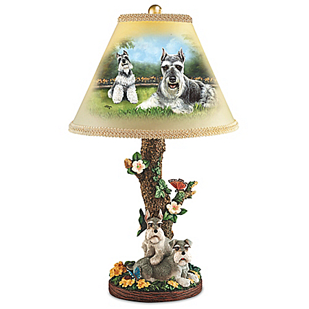 Linda Picken Sweet Schnauzers Sculpture Lamp