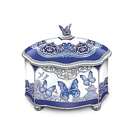 Image of Porcelain Blue Willow Style Butterfly Music Box