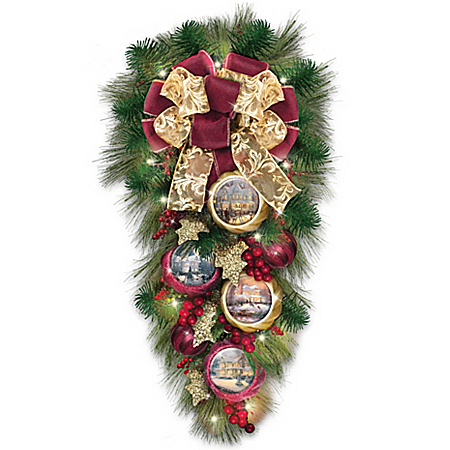 Image of Lighted Evergreen Thomas Kinkade Wreath with Artwork Ornaments