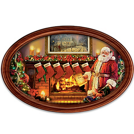 Image of Framed Personalized Family Thomas Kinkade Santa Claus Collector Plate