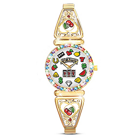 Photo of Lucky Jackpot Gold-Tone Filigree-Designed Slot Machine Women's Watch by The Bradford Exchange Online