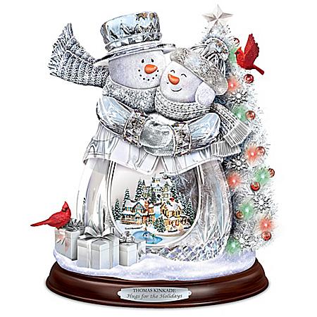 Thomas Kinkade Hugs For The Holidays Crystal Snowman Sculpture