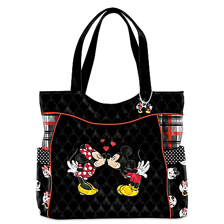 Disney Mickey Mouse And Minnie Mouse Love Story Women's Quilted Tote Bag