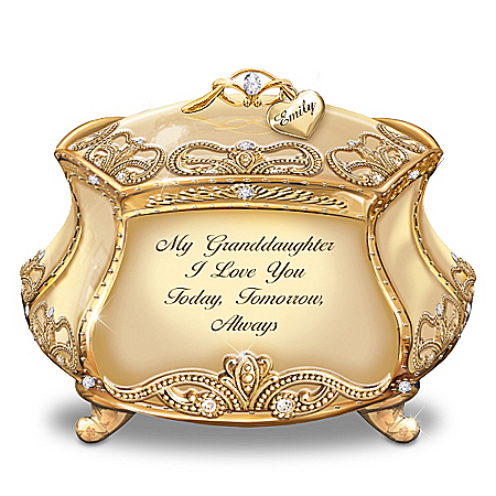 Image of Granddaughter, I Love You Personalized Heirloom Porcelain Music Box