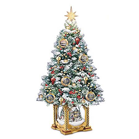 Image of LED Lighted Thomas Kinkade Christmas Tree with Musical Snow Globe Base