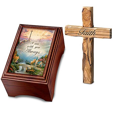 Image of Amazing Grace Thomas Kinkade Music Box with Wood Cross