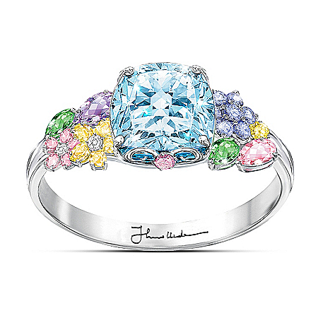 Image of Colors Of Inspiration Women's Fashion Floral Ring - Thomas Kinkade