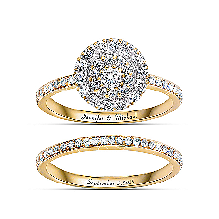 Golden Personalized Diamond Women's Bridal Ring Set - Personalized Jewelry