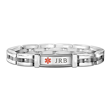 Photo of Medical Alert Personalized Stainless Steel Men's Bracelet - Personalized Jewelry by The Bradford Exchange Online