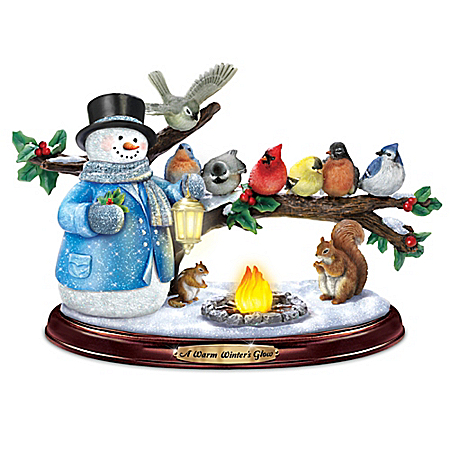 Image of A Christmas with Friends Thomas Kinkade Snowman Figurine with Lights and Music