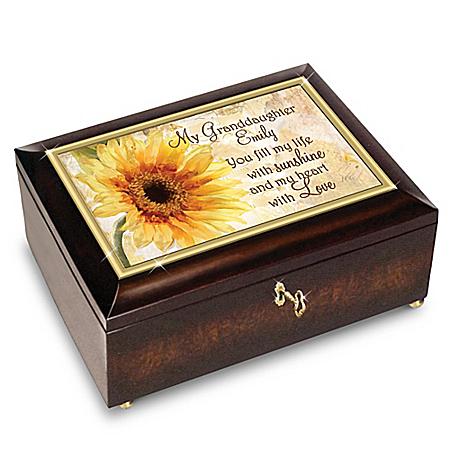 Image of Custom Music Box for Granddaughters with Original Poem Card: Bradford Exchange