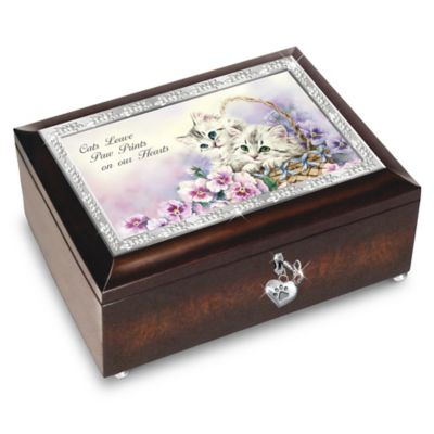 Cats Leave Paw Prints On Our Hearts Music Box With Charm