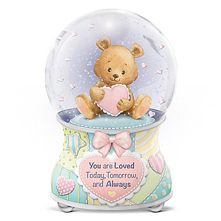 Image of Heart Teddy Bear Water Globe for Baby