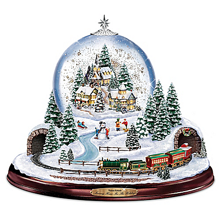 Image of Lighted Musical Thomas Kinkade Christmas Village Snowglobe with moving Train