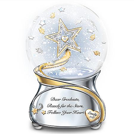 Image Dear Graduate, Reach For The Stars Personalized Musical Glitter Globe - Graduation Gift Ideas