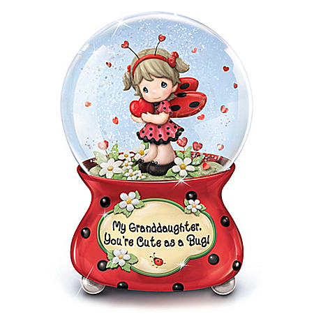 Precious Moments, Granddaughter Cute As A Bug Musical Glitter Globe