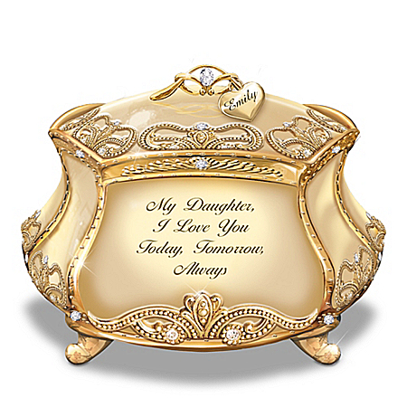 Image of Daughter, I Love You Personalized 22K Gold-Plated Heirloom Music Box