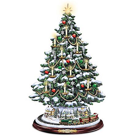 Image of HOLD Candlelit Thomas Kinkade Tabletop Christmas Tree with Lights, Music and Rotating Train