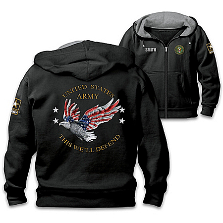 Army Pride Personalized Men's Easy-Care Comfort Knit Hoodie 125692001