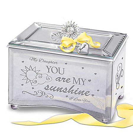 Image of Daughter, You Are My Sunshine Personalized Mirrored Music Box