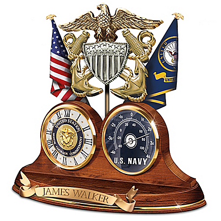Photo of Navy Values Personalized Wooden Thermometer Desk Clock by The Bradford Exchange Online