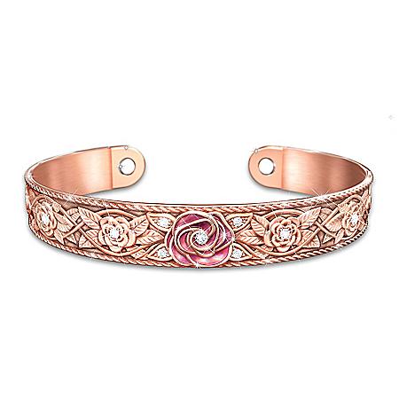 Nature's Healing Beauty Floral Copper Cuff Women's Bracelet