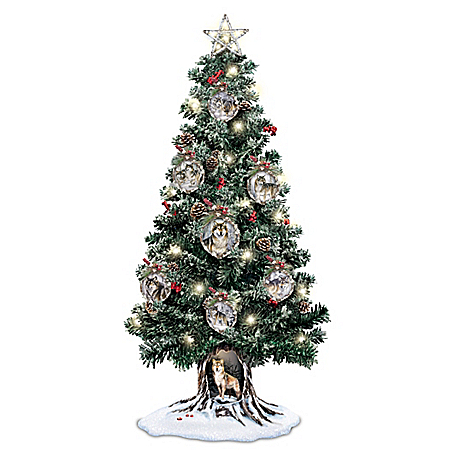Image of Al Agnew Sovereigns Of The Forest Illuminated Tabletop Christmas Tree
