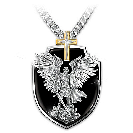 Photo of Strength Of St. Michael Son Dog Tag Pendant Necklace by The Bradford Exchange Online