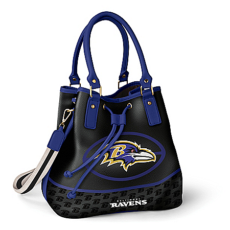 Photo of Baltimore Ravens Women's NFL Bucket-Style Handbag by The Bradford Exchange Online