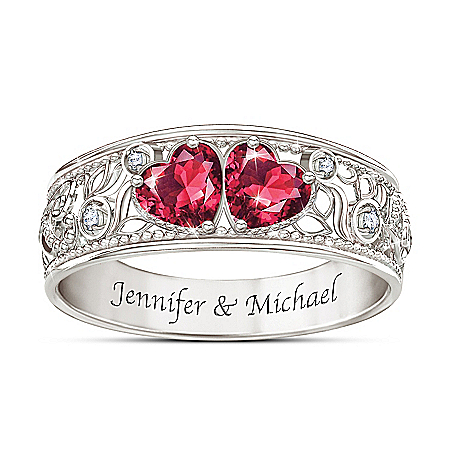 Photo of Heart To Heart Women's Personalized Diamond Ring by The Bradford Exchange Online