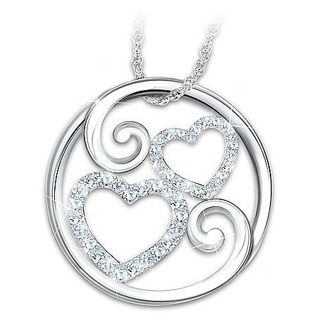 Photo of Forever Mother & Daughter Topaz Heart-Shaped Pendant Necklace by The Bradford Exchange Online