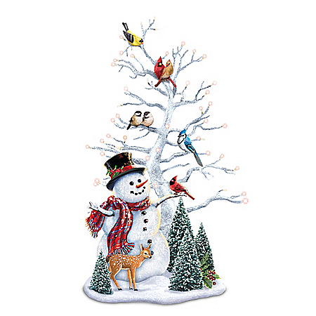 Photo of Dona Gelsinger Winter's Gathering Illuminated Snowman & Songbird Tabletop Centerpiece by The Bradford Exchange Online